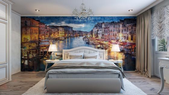 Conception de chambre à coucher avec une grande peinture décorative sur le mur