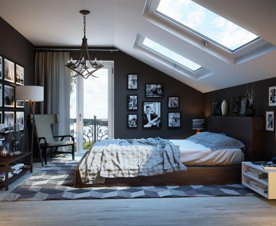 Décor de chambre avec plafond en pente et fenêtres horizontales