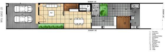 Plan de maison étroite à deux étages - Premier étage