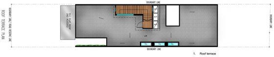 Plan du toit de la maison étroite