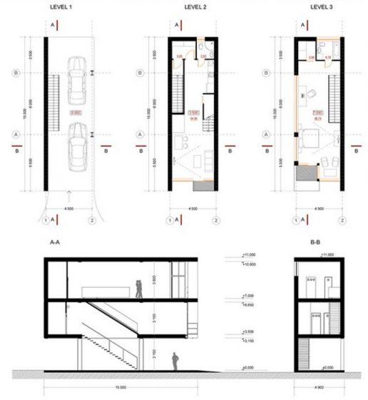 Plans de maisons étroites à trois étages - plan d'étage et coupes