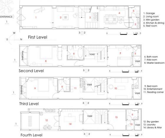 Plans de maisons étroites modernes de quatre étages