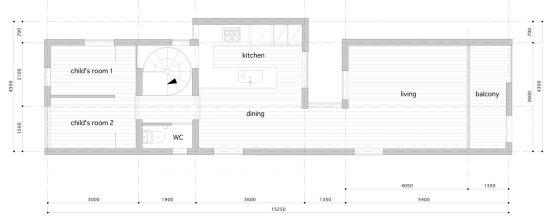 Plan du deuxième étage de la maison étroite