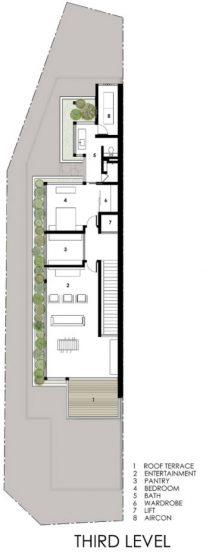 Plan de maison étroit à trois étages niveau 3