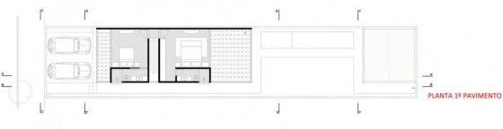 Plan de la maison étroite au deuxième niveau