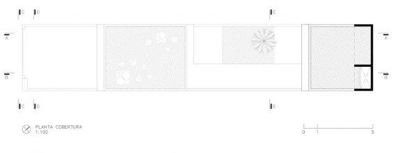 Plan du toit de la maison étroite et longue