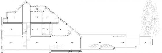 Plan de coupe longitudinale d'une maison très étroite