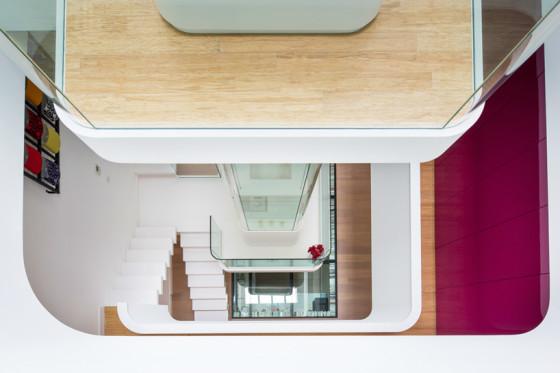 Vue de dessus de la conception de l'escalier