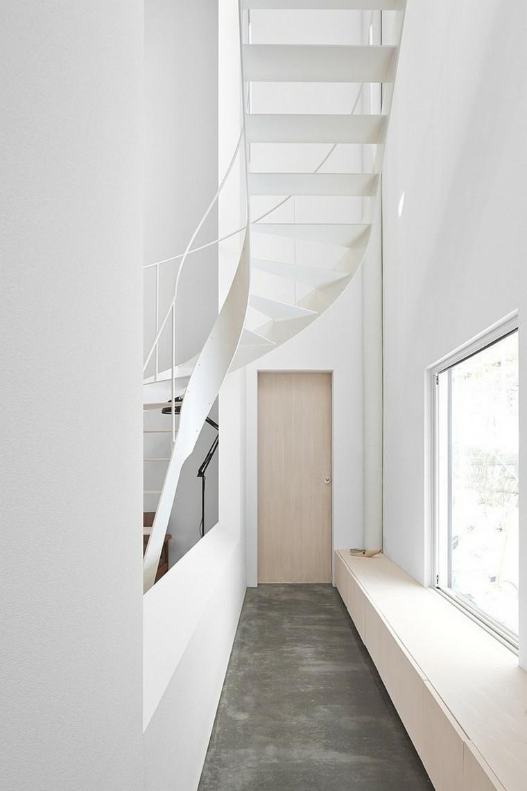 couloirs minimalistes modernes-escalier en colimaçon