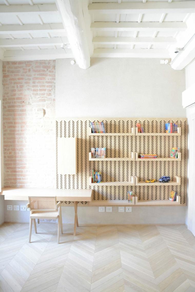 nouveau-style-ancien-appartement-étagères-bois