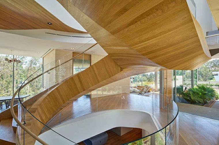 styles d'escaliers en colimaçon pistes de verre en bois