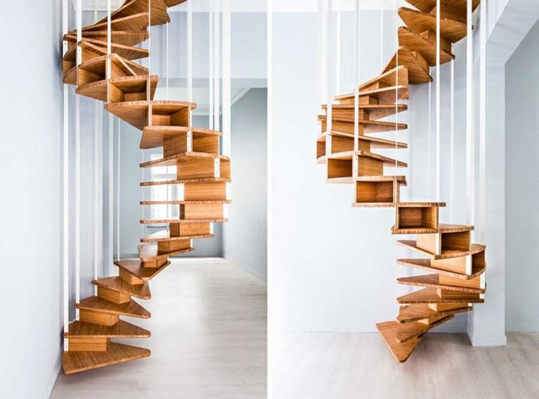 escaliers en colimaçon matériaux spéciaux originaux