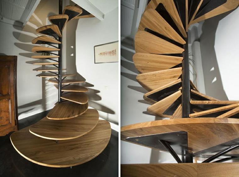 Pièces modernes de l'espace en spirale en bois en acier
