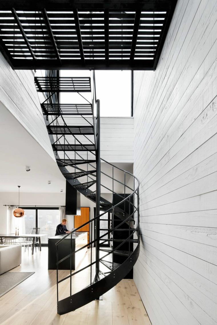 escaliers intérieurs en métal salons meubles linéaires