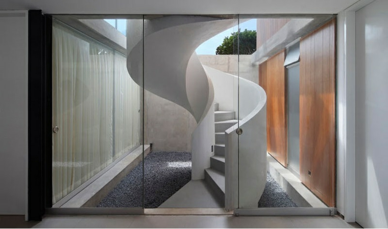 combinaison d'environnements de décorations d'escalier modernes gris blanc