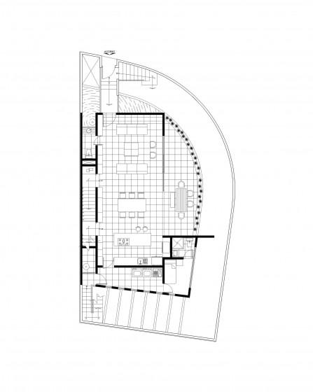 Plan de maison moderne situé dans le coin