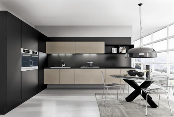 Conception de cuisine exclusive, table en verre et base en x