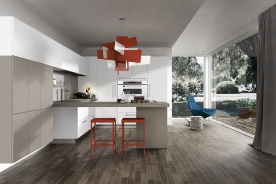 Lampe rouge design de cuisine moderne