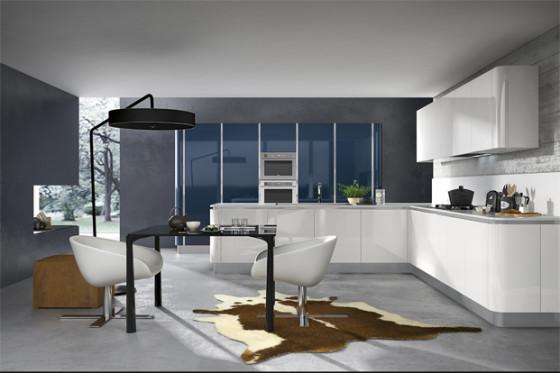 Meubles de cuisine blancs et mur gris