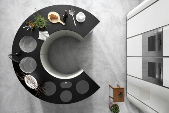 Forme ovale de l'îlot de cuisine