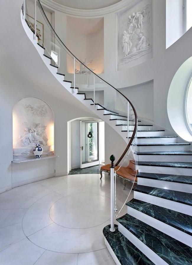 balustrades combinées en verre élégant en marbre