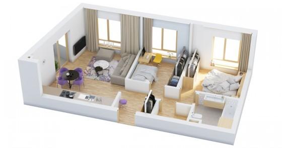 Plan petit appartement de deux chambres