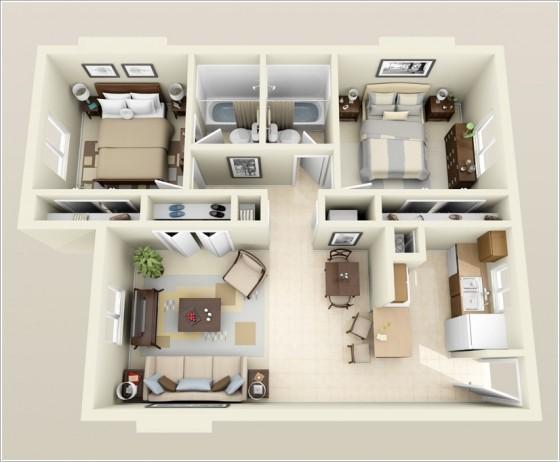 Plan petite maison deux chambres deux salles de bain