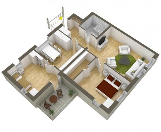 Petit plan de maison de deux chambres