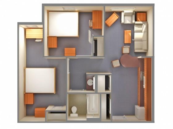 Plan petit appartement 2 chambres une salle de bain