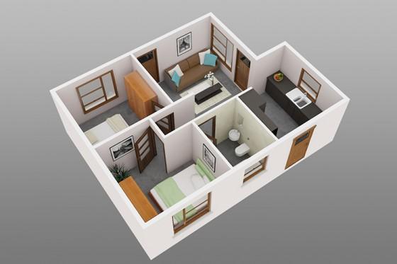 Conception de petite maison de deux chambres