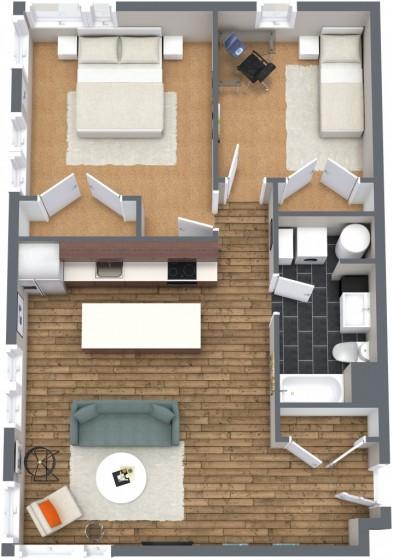 Petit appartement de deux chambres