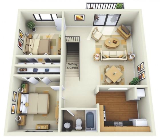 Appartement de deux chambres en plan 3D