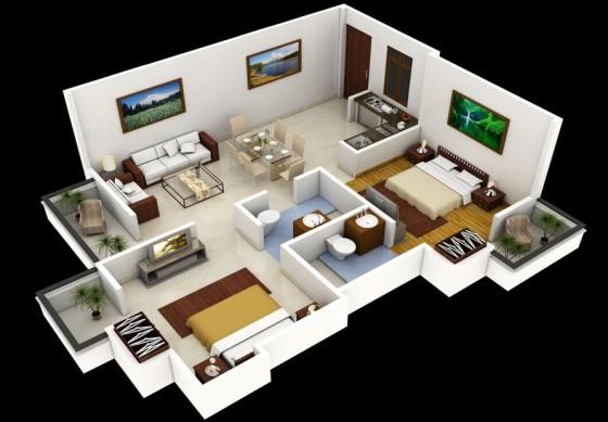 Conception d'appartement moderne sur terrain moyen