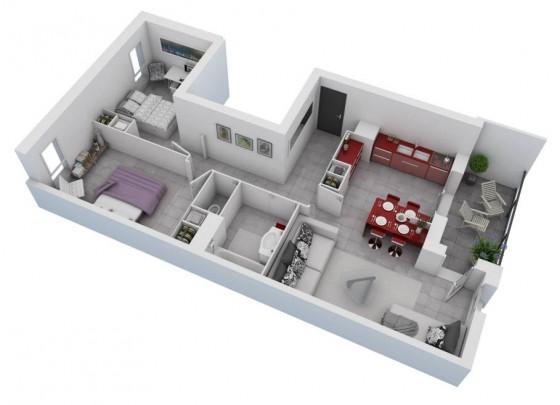 Plan petite maison deux chambres 01