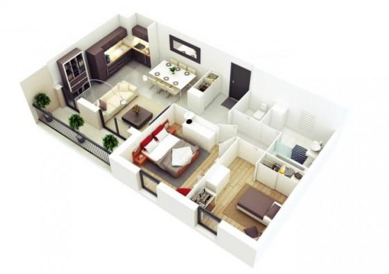 Petit appartement de forme rectangulaire