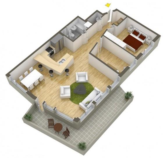Conception d'appartement moderne avec grand salon - salle à manger