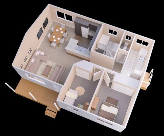 Idée de plan de petite maison de 2 chambres