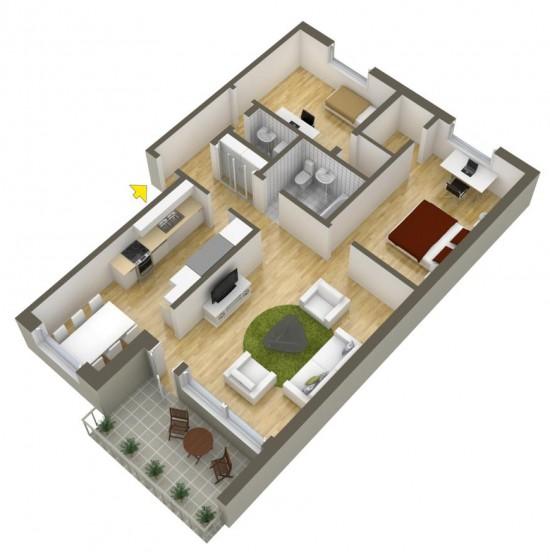 Appartement simple de deux chambres