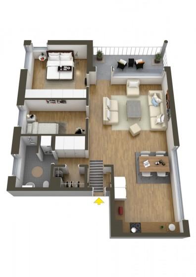 Plan de petit appartement de deux chambres et une salle de bain