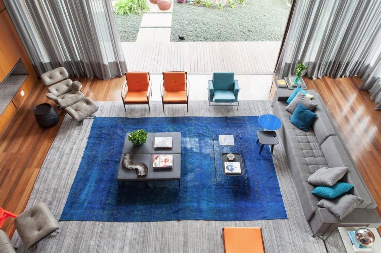Déco Salon Grand Tapis Bleu Suite Architectes Idées