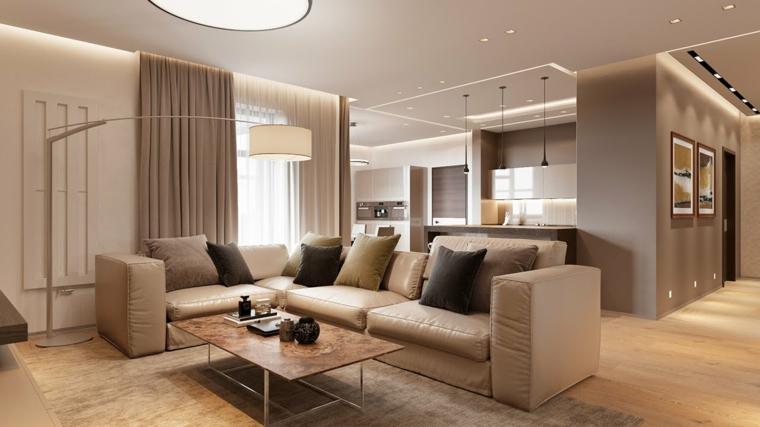 décoration salon canapé en cuir idées de design neutres