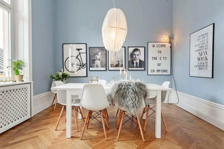 Salle à manger murs bleus idées de maisons scandinaves