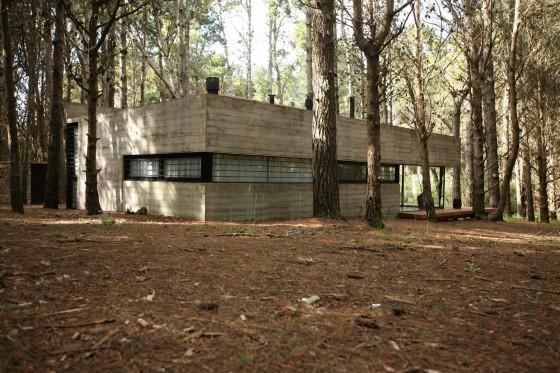 Conception d'une petite maison en béton construite sur le terrain