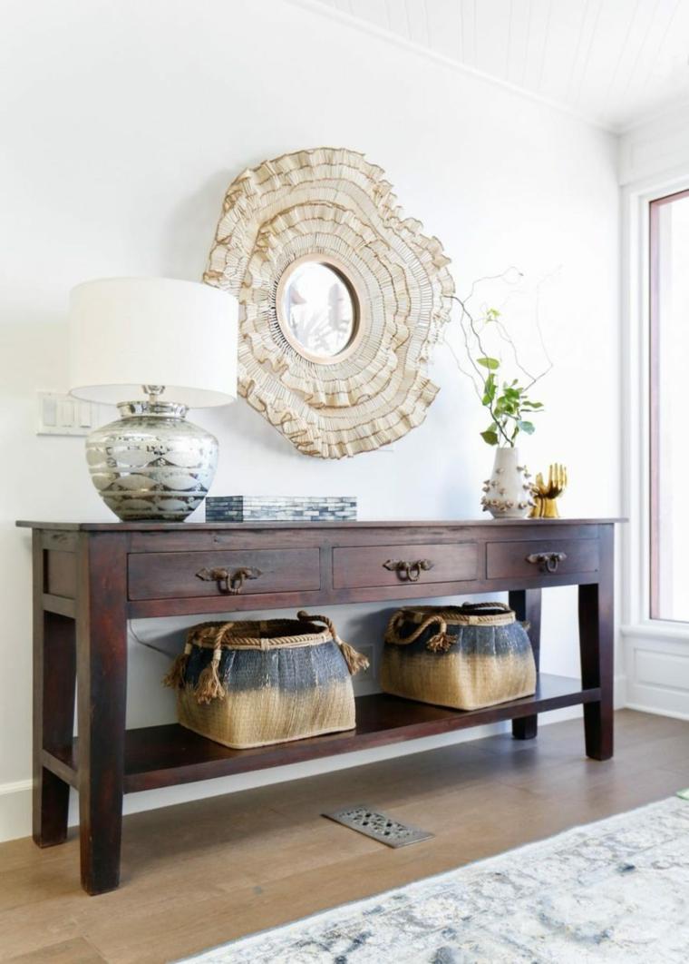 meubles de hall en miroir rond