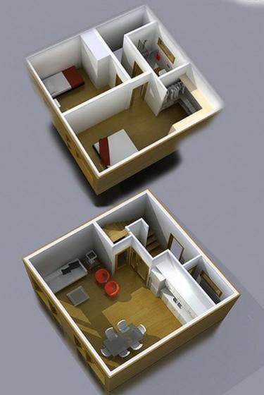 Plans 3D d'une très petite maison à deux étages