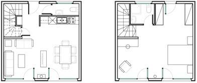 Plans de très petites maisons à deux étages une chambre