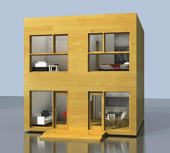 Façade d'une petite maison bon marché de deux étages
