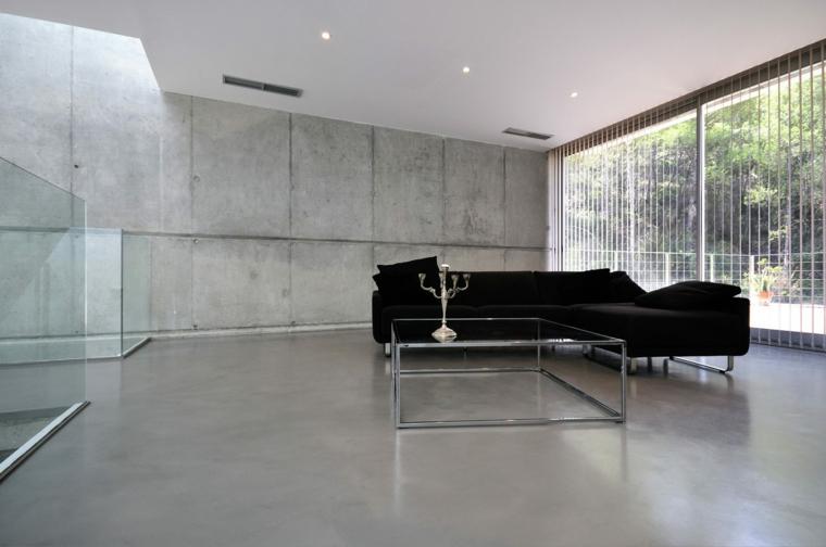 décoration de salon de planchers de béton ciré