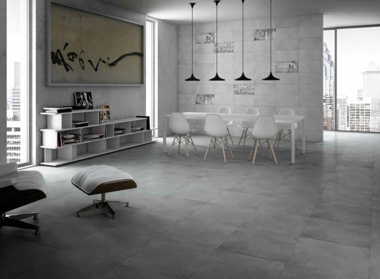 Maison intérieure de planchers de béton ciré