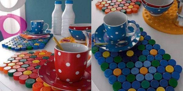 Artisanat de fête des mères avec des bouchons de nappes bouteilles en plastique